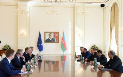 President Ilham Aliyev and  Donald Tusk had an expanded meeting