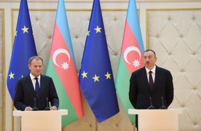 President Ilham Aliyev and EC President made press statements