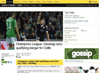 Qarabag carry qualifying danger for Celtic  BBC says