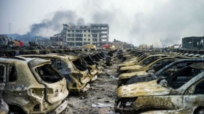China explosion: Fire still burning