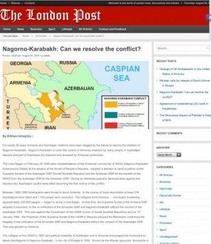 The London Post issues  Azerbaijani journalist's article on Nagorno-Karabakh conflict