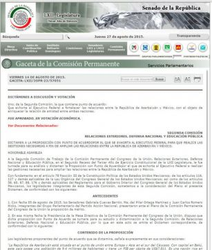 Mexican Congress adopts resolution on development of cooperation with Azerbaijan