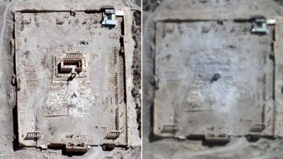 Destruction of Temple of Bel  -  Satellite images