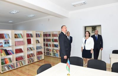 President Ilham Aliyev attended the opening of a secondary school in Kurdamir