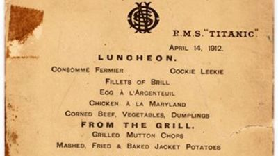 Titanic's last lunch menu sold for $88,000 at auction