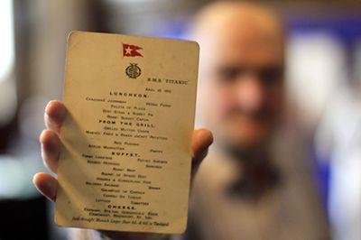 Меню последнего обеда на «Титанике» продали за 88 тысяч долларов