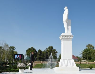 Azerbaijani President visited a statue of the Azerbaijani National Leader in Goychay