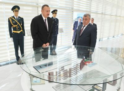 Azerbaijani President reviewed the Flag Square in Goychay PHOTOS