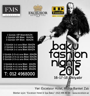 """Baku Fashion Night 2015""   event to hold in  ""Excelsior Hotel & Spa Baku"""