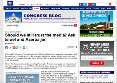 "The Hill posts article headlined ""Should we still trust the media? Ask Israel and Azerbaijan"""