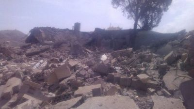 A hospital destroyed by air strikes in Yemen