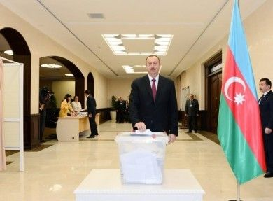 President Ilham Aliyev votes in parliamentary elections