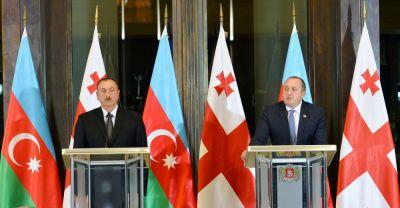 Президенты Азербайджана и Грузии выступили с заявлениями для печати ФОТО