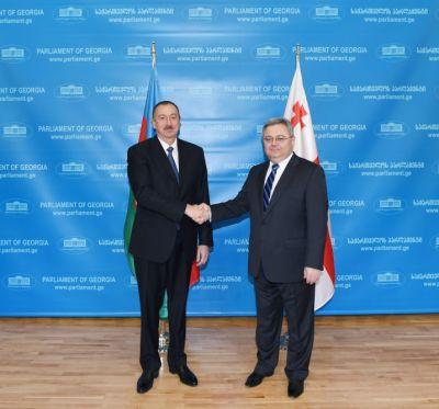 Состоялась встреча Президента Ильхама Алиева с председателем парламента Грузии ФОТО