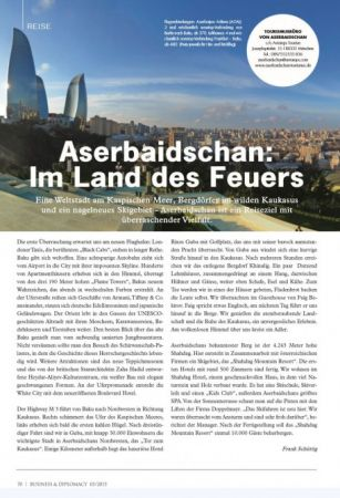 "German ""Business and diplomacy"" journal publishes article about Azerbaijan"
