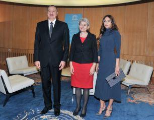 President Ilham Aliyev and  Mehriban Aliyeva meet UNESCO Director General