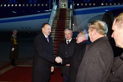 President Ilham Aliyev arrives in Belarus
