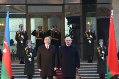 Official welcoming ceremony held for President Ilham Aliyev in Belarus PHOTOS