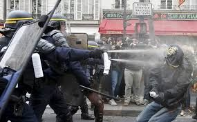 Climate protestors clash with police in France