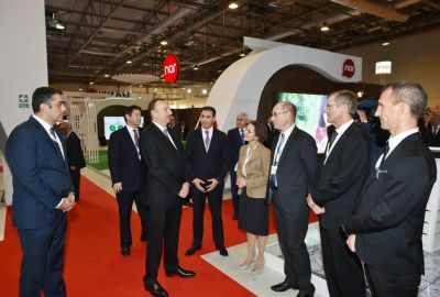 Azerbaijani President reviews BakuTel-2015 exhibition  PHOTOS