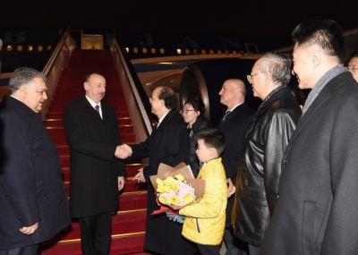 President Ilham Aliyev arrives in Beijing from Xian