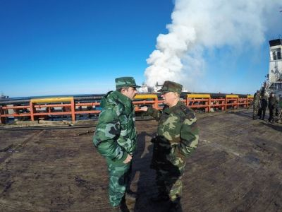 Elchin Guliyev  and Kemaleddin Heydarov review of  the site of fire