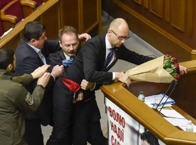 Brawl erupts in Ukrainian parliament