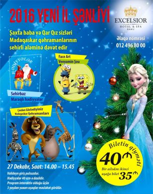 "Kids New Year  party to be held for children in ""Excelsior Hotel & Spa Baku"""