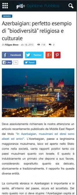 Italian Opinione Publica posts article on Azerbaijan
