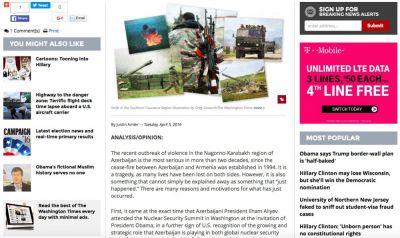 The Washington Tımes: Целью Армении было представить Азербайджан миру в негативном образе агрессоров