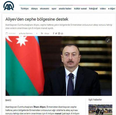 Türkiyə KİV-ləri Prezidentin cəbhə bölgəsinən yazdı - FOTOLAR