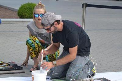 """Olimpiadaya həsr olunan 3D """"street-art"""" tablosu hazırlanır FOTOLAR"""