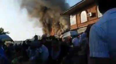 Сильный пожар в Лянкяране