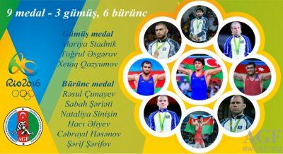 Güləş tariximizdə yeni səhifə Olimpiadada 9 medal - FOTOLAR