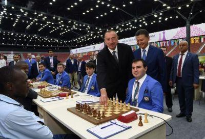 Ильхам Алиев на первом турнире Шахматной олимпиады