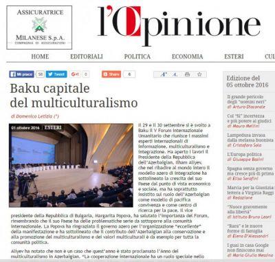 İtaliya mətbuatı  V Beynəlxalq Humanitar Forumdan yazır