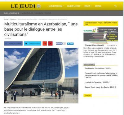 Lüksemburq portalı V Bakı Beynəlxalq Humanitar Forumundan yazır