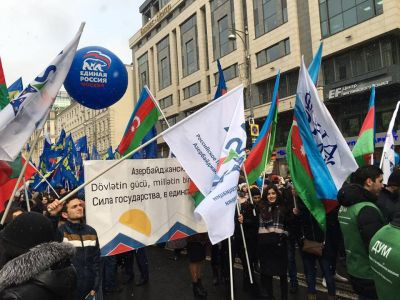 Azərbaycan diasporu Moskvada paradda iştirak edib