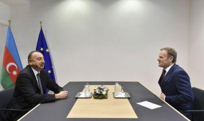 Ильхам Алиев встретился с Дональдом Туском Фотографии