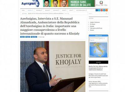 İtaliya ictimaiyyəti Xocalı soyqırımı barədə məlumatlandırılıb