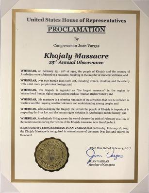 Конгресс США сделал заявление по случаю Ходжалинской резни