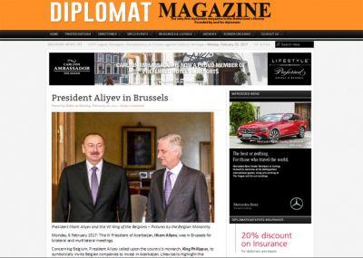 """""""Diplomat Magazine"""" jurnalı Prezident İlham Əliyevin Belçikaya səfərindən yazır"""