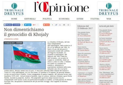 """İtaliyanın """"L'Opinione"""" qəzeti: """"Biz Xocalı soyqırımını unutmuruq"""""""