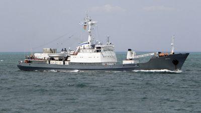 Российский военный корабль затонул после столкновения с грузовым судном